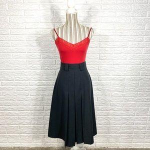 Vintage Sag Harbor Black High Waisted Midi Skirt